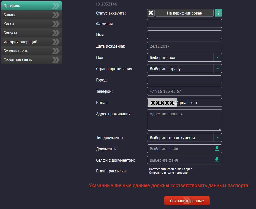 Форма регистрации Pin Up Bet